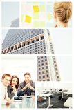 Samengesteld beeld van achtermening van een vrouwelijke kunstenaar die kleurrijke kleverige nota's bekijken Royalty-vrije Stock Foto