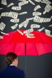 Samengesteld beeld van achtermening van onderneemster die rode paraplu dragen Royalty-vrije Stock Afbeelding