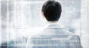 Samengesteld beeld van achtermening van zakenman het kijken door 3d venster van de bouw Stock Afbeeldingen