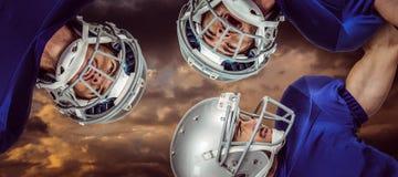 Samengesteld beeld van Amerikaanse 3D voetbalwirwar Stock Fotografie
