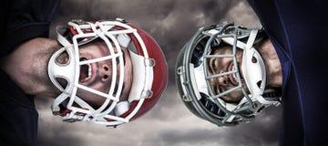 Samengesteld beeld van Amerikaanse 3D voetbalwirwar Royalty-vrije Stock Afbeeldingen