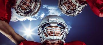 Samengesteld beeld van Amerikaanse 3D voetbalwirwar Royalty-vrije Stock Foto