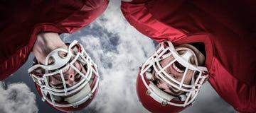 Samengesteld beeld van Amerikaanse 3D voetbalwirwar Royalty-vrije Stock Foto's