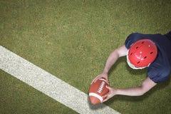 Samengesteld beeld van Amerikaanse voetbalster die een touchdown noteren Stock Afbeeldingen