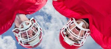 Samengesteld beeld van Amerikaanse voetbalwirwar Stock Foto