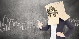 Samengesteld beeld van anonieme onderneemster met haar omhoog handen Stock Foto's