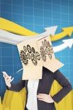 Samengesteld beeld van anonieme onderneemster met haar omhoog handen Stock Foto