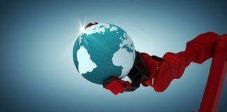 Samengesteld beeld van bebouwd beeld die van rode robotachtige klauw blauwe planeet 3d houden Royalty-vrije Stock Afbeeldingen
