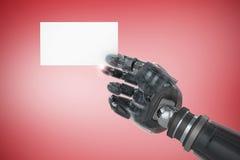 Samengesteld beeld van bebouwd beeld van het digitale samengestelde robotachtige lege 3d aanplakbiljet van de wapenholding Royalty-vrije Stock Foto