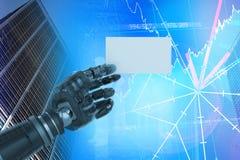 Samengesteld beeld van bebouwd beeld van het digitale samengestelde robotachtige lege 3d aanplakbiljet van de wapenholding Royalty-vrije Stock Fotografie