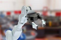 Samengesteld beeld van bebouwd beeld van robotachtige hand met 3d klauw Royalty-vrije Stock Afbeeldingen