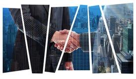 Samengesteld beeld van bedrijfsmensen die handen schudden royalty-vrije stock fotografie