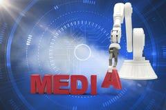 Samengesteld beeld van beeld die van robotachtig wapen media 3d tekst schikken Stock Foto