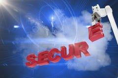Samengesteld beeld van beeld die van robotachtig wapen veilige 3d teksten schikken Stock Afbeeldingen