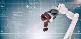 Samengesteld beeld van beeld van het robotachtige 3d vraagteken van de wapenholding Royalty-vrije Stock Fotografie