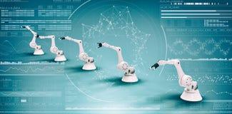 Samengesteld beeld van beeld van moderne 3d robots Stock Foto's
