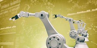 Samengesteld beeld van beeld van moderne robotachtige 3d wapens Stock Afbeeldingen