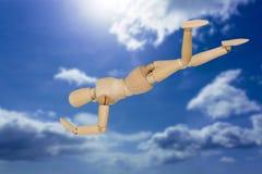 Samengesteld beeld van beeldje het 3d presteren headstand Royalty-vrije Stock Foto