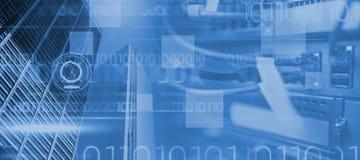 Samengesteld beeld van blauw technologieontwerp met binaire code Royalty-vrije Stock Afbeeldingen