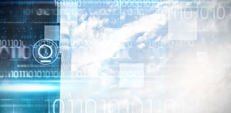 Samengesteld beeld van blauw technologieontwerp met binaire code Royalty-vrije Stock Foto
