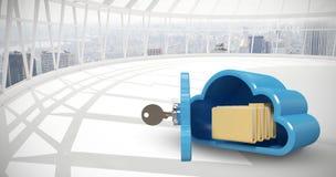 Samengesteld beeld van blauwe kast in wolkenvorm met 3d omslagen Stock Foto's