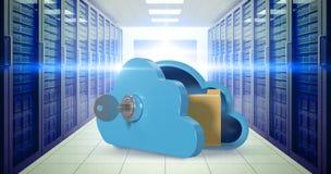 Samengesteld beeld van blauwe kast in wolkenvorm met 3d sleutel en omslag Stock Fotografie