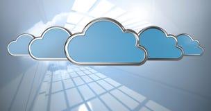 Samengesteld beeld van blauwe wolkenvormen op witte 3d achtergrond Stock Foto