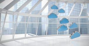 Samengesteld beeld van blauwe wolkenvormen over witte 3d achtergrond Royalty-vrije Stock Foto's