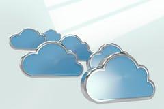 Samengesteld beeld van blauwe wolkenvormen over witte 3d achtergrond Stock Foto's