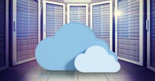 Samengesteld beeld van blauwe wolkenvormen tegen witte 3d achtergrond Royalty-vrije Stock Afbeelding