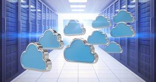 Samengesteld beeld van blauwe wolkenvormen tegen witte 3d achtergrond Stock Foto's