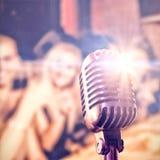 Samengesteld beeld van close-up van microfoon stock fotografie