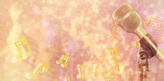 Samengesteld beeld van close-up van microfoon royalty-vrije stock afbeelding