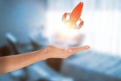 Samengesteld beeld van close-up van bebouwde 3d hand Royalty-vrije Stock Afbeelding