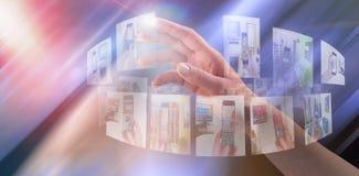 Samengesteld beeld van close-up van bebouwde hand op witte achtergrond stock illustratie