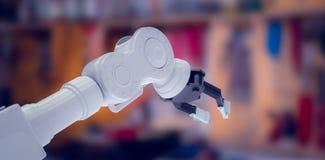 Samengesteld beeld van close-up van 3d metaalklauw van robotachtige hand Stock Afbeeldingen