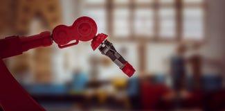 Samengesteld beeld van close-up van rode 3d robotklauw Stock Afbeeldingen