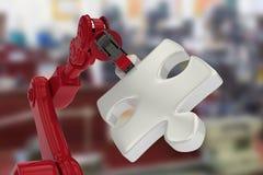 Samengesteld beeld van close-up van rode robotachtige hand met grijs 3d figuurzaagstuk Stock Fotografie