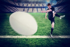 Samengesteld beeld van close-up van rugbybal Royalty-vrije Stock Foto