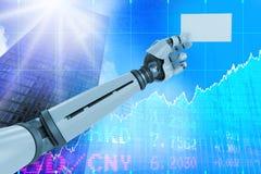 Samengesteld beeld van computer grafisch beeld van het witte robotachtige 3d aanplakbiljet van de wapenholding Royalty-vrije Stock Afbeelding