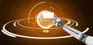 Samengesteld beeld van computer grafisch beeld van het witte robotachtige 3d aanplakbiljet van de wapenholding Royalty-vrije Stock Afbeeldingen