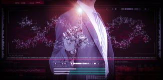 Samengesteld beeld van computer grafisch beeld van zakenman met robotachtige hand in volledig 3d kostuum Stock Foto's