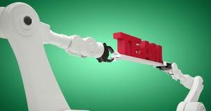 Samengesteld beeld van computer grafisch die beeld van tekst door 3d robots wordt gehouden Royalty-vrije Stock Afbeelding