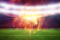 Samengesteld beeld van 3d bal van brand Stock Afbeelding