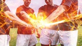 Samengesteld beeld van 3d bal van brand Stock Foto