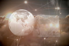 Samengesteld beeld van 3d beeld van aarde en doos Royalty-vrije Stock Afbeeldingen