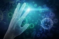 Samengesteld beeld van 3d beeld van witte menselijke hand Royalty-vrije Stock Afbeelding