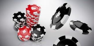 Samengesteld beeld van 3d beeld van zwart casinoteken met clubssymbool stock illustratie
