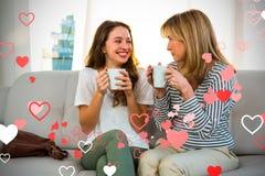 Samengesteld beeld van 3d familie en harten Royalty-vrije Stock Afbeelding