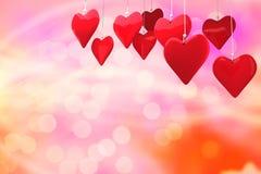 Samengesteld beeld van 3d liefdeharten Stock Foto's